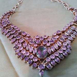Large Amethyst and Mystic Stone Necklace